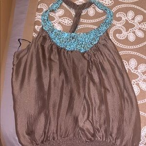 Gorgeous Brown top with blue beaded halter